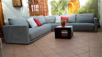 CORICRAFT SPENCER CORNER COUCH - ATHOLL CEMENT COLOUR, FULLY UP, 2 piece CORNER SUITE. BRAND NEW