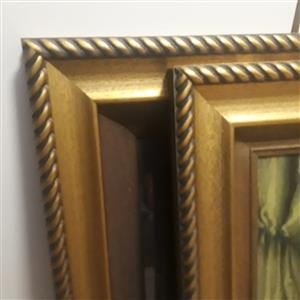 2 gilded frames with prints in glass.  80x60cm each.  R400 for the pair. Very good condition.