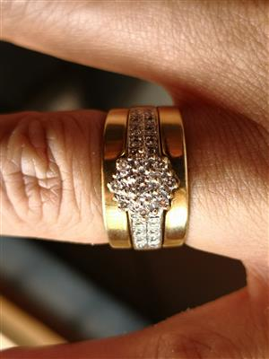 Used, 9ct gold and diamond triple set wedding ring set for sale  Somerset West