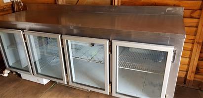 Stainless steel 4 glass door undercounter bar fridge