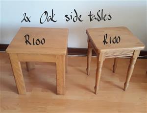 2 Oak side tables