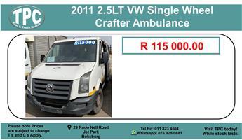 2011 2.5lt Vw Single Wheel Crafter Ambulance For Sale.