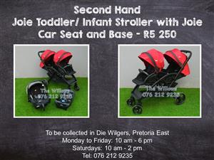 Second Hand Joie Toddler/ Infant Stroller with Joie Car Seat and Base