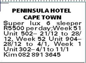 Holiday accommodation at Peninsula Hotel Cape Town