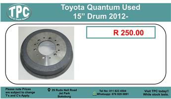 """Toyota Quantum Used 15"""" Drum 2012- For Sale."""