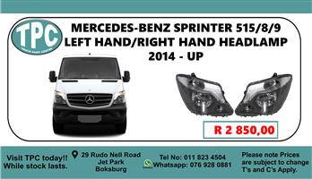 Mercedes-Benz Sprinter 515/8/9 Left Hand/Right Hand Headlamp 2014 - Up - For Sale at TPC