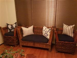 Nambian hard wood couches & 4 seated coricraft couch