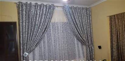 Silver drapes with black pattern