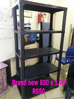 Plastic Shelves 30kg's per shelf (150kg's Total) Easy Lock & tilt protection