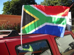 South African Flag on a plastic stick that can be hand held and also hooked onto a car window