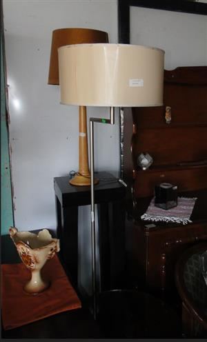 Beautiful Stainless Steel Floor Standing Lamps with Shades For-sale at R 950 each