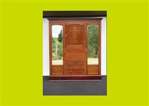 Victorian Inlaid Mahogany Triple Door Mirrored Compactum - SKU 622