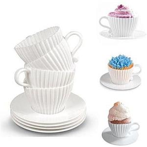 4 Silicone Cup Afternoon Tea Cupcakes Cup & Saucer Set Bake Decorate Serve