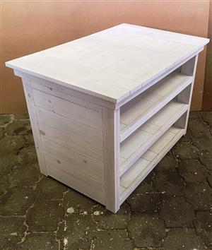 Compactum Cottage series 1200 4 Tier change-over table - White washed