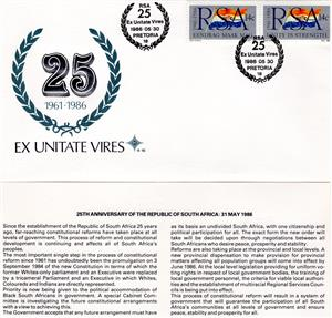 Commemorative Stamp & Envelope Set - RSA 25th Anniversary 1986