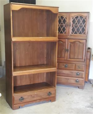Wooden lounge unit and cabinet, wooden top with trestles