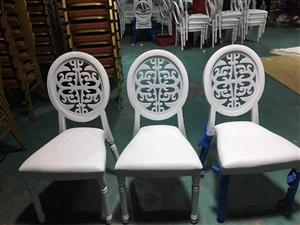 3 White sequence back chairs
