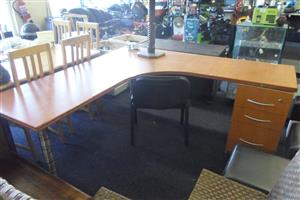 L-Shaped Office Desk with 3 Drawers - B03325706-1