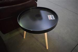 Mini round black top side tables
