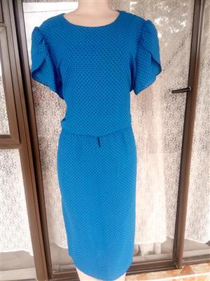 Black spotted blue dress for sale