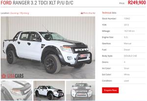 2013 Ford Ranger double cab RANGER 3.2TDCi XLT P/U D/C