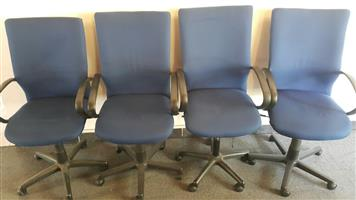 Blue highback swivel chairs