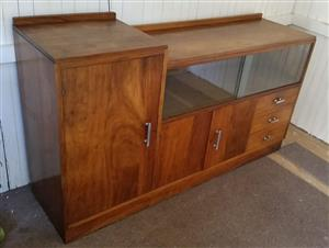 Sideboard, teak, 3 drawers, 3 doors, window display, 168 x 46 x 96