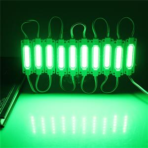 LED Light Modules: Waterproof COB Injection Moulded in Green Colour. 12Volts.