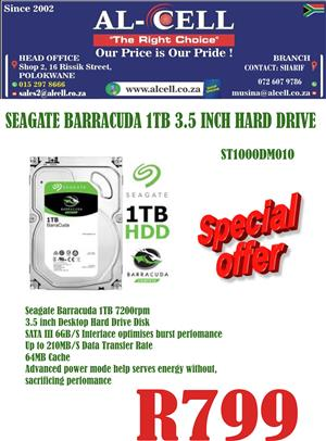 Seagate Barracuda 1TB 3.5 Inch Hard Drive