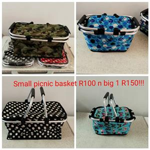 Camo and blue small picnic baskets