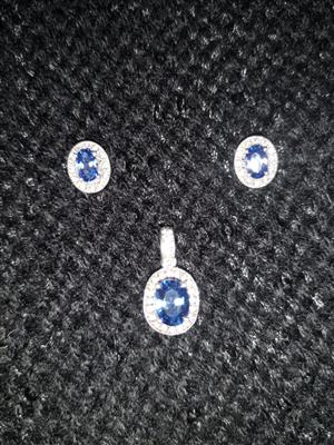 Sterling Silver Tanzanite Earring and Pendant set