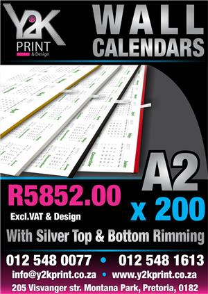 A2 Wall Calendars on special !