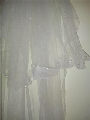 Cinderella style wedding dress with stiff under dress petty coat as well as a veil