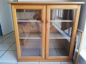 Wooden glass door shelf cabinet