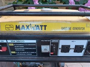 Max watt petrol generator MW3800 for sale