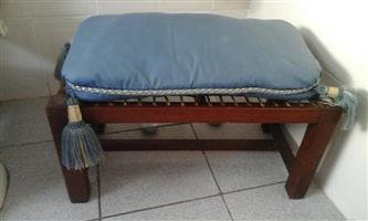Mini dark wooden riempie stool with cushion