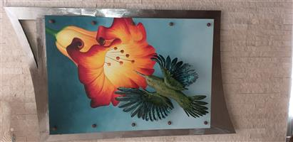 PRE-OWNED BIRD AND FLOWER WALL HANGING LIGHT
