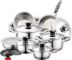 Royalty Line 16-Piece Stainless Steel Cookware Set