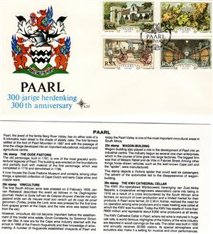 Commemorative Stamp & Envelope Set - Paarl 300th Anniversary 1987