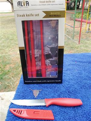 ALVA 4 steak knife set with meat markers and another box with 3 knives and markers