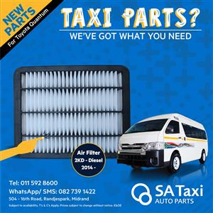 NEW Diesel Air Filter 2KD 2014- suitable for Toyota Quantum - SA Taxi Auto Parts quality spares