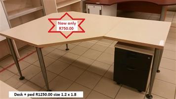 Desks + pedestals (used)
