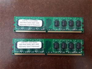 New 2x 1GB RAM DDR2 400MHz Desktop Memory