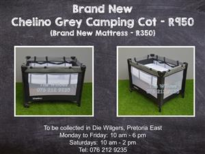 Brand New Chelino Grey Camping Cot (Brand New Mattress - R350)