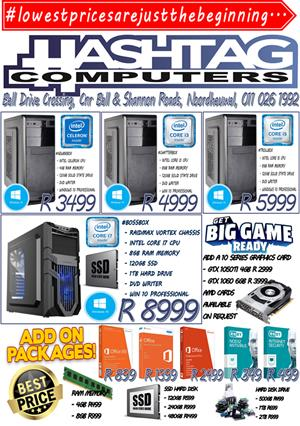 NEW DESKTOP PC'S FROM R 3,499-00 / GAMING PC'S AND ACCESSORIES
