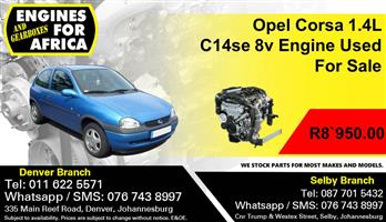 Opel Corsa 1.4L C14se 8v Engine Used For Sale.