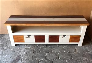 TV display unit Chunky Cottage series 1600 with drawers - Weathered look