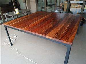 Kiaat Table with Steel Frame