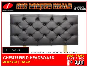 HEADBOARD ON PROMOTION BRAND NEW CHESTERFIELD FOR ONLY R 999!!!!