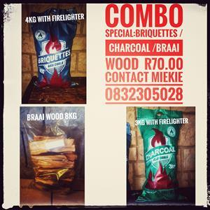BRIQUETTES/CHARCOAL/WOOD COMBO